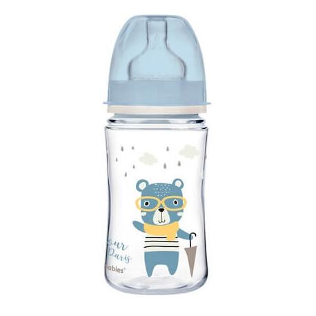 CANPOL 35/232 Butelka szeroka antykolkowa 240ml Bonjour niebieska