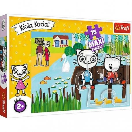 TREFL 14331 Puzzle 15 MAXI Kicia Kocia nad jeziorem 2+