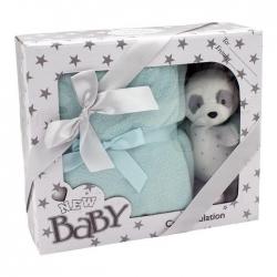 Zestaw grzechotka - Panda z kocykiem miętowy 100x75 cm