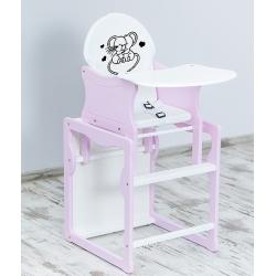BR Krzesełko do karmienia 2w1 MYSZKI biały-różowy