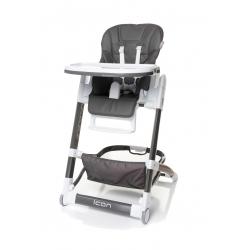 4baby Krzesełko do karmienia ICON skórzana tapicerka grey