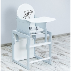 BR Krzesełko do karmienia 2w1 SÓWKA biały-popiel