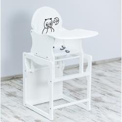 BR Krzesełko do karmienia 2w1 SÓWKA biały