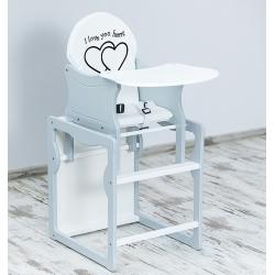 BR Krzesełko do karmienia 2w1 SERCE biały-popiel