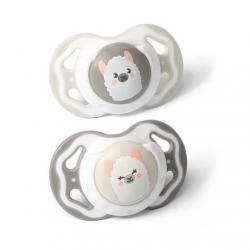 BabyOno 1223/01 Smoczek symetryczny silikonowy 2 szt 3-6 m szary