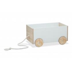 BR drewniany pojemnik na zabawki skrzynia-jeździk na kółeczkach biały-sonoma