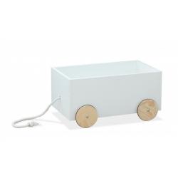 BR drewniany pojemnik na zabawki skrzynia-jeździk na kółeczkach biały