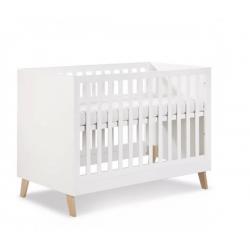 KLUPŚ Łóżeczko NOAH biały-dąb z barierką 120x60