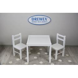 DREWEX Zestaw Stolik + 2 krzesełka biały/biały