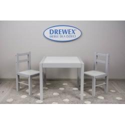 DREWEX Zestaw Stolik + 2 krzesełka biały/szary