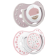 LOVI 22/804 Smoczek silikonowy dynamiczny 3-6m 2szt Retro Baby Girl