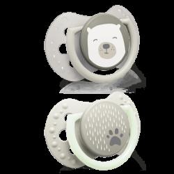 LOVI 22/862 Smoczek silikonowy dynamiczny 0-2m 2szt Buddy Bear