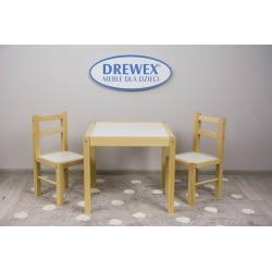 DREWEX Zestaw Stolik + 2 krzesełka biały/sosna
