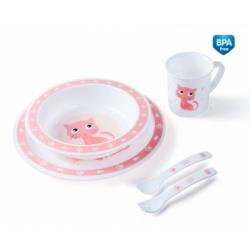 CANPOL 4/401 Plastikowy zestaw stołowy Cute Animals kotek różowy