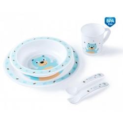CANPOL 4/401 Plastikowy zestaw stołowy Cute Animals miś turkusowy