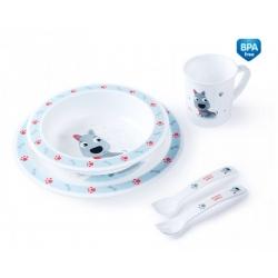 CANPOL 4/401 Plastikowy zestaw stołowy Cute Animals piesek niebieski