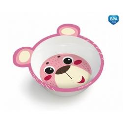 CANPOL 4/520 Melamina miseczka antypoślizgowa z uszami Hello Little różowa