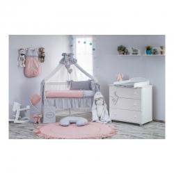 Wyprawka dla niemowlaka 21 ele, pasująca do łóżeczka 120x60cm popiel - brudny róż