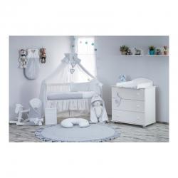 Wyprawka dla niemowlaka 21 ele, pasująca do łóżeczka 120x60cm popiel - biały