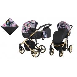 KUNERT Wózek wielofunkcyjny 2w1 TIARO Premium czarny + kwiaty złota rama