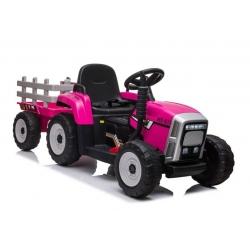 Traktor na Akumulator z Przyczepą Różowy